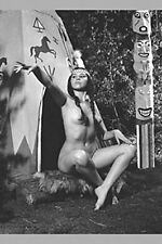 50s VINTAGE FAUX INDIAN MAIDEN NUDE BURLESQUE DANCER WOMAN TIPI TOTEM POLE PHOTO
