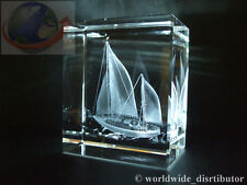 LASER CRYSTAL PAPERWEIGHT SAILING SHIP YACHT 3684 PRESENTATION BOXED