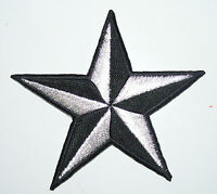 Get TWO METALLIC SILVER 3 inch iron on NAUTICAL STAR patches appliques