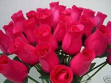 24 Wholesale Cerise Fuchsia Hot Pink Wooden Roses Artificial Wedding Flowers