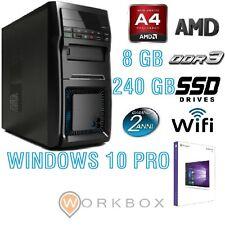 PC Desktop AMD A4 QUAD CORE ALANTIK WIFI SSD 240GB 8GB RAM HDMI USB WINDOWS 10