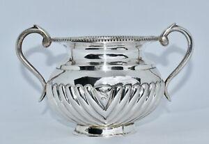 253g - Vintage Sterling Silver Twin Handle Sugar Bowl - Half Fluted
