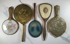 Vtg Lot Antique 5 Hand Held Mirrors Guilloche, Celluloid, Porcelain, & Filigree