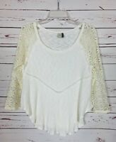 Paper Crane Anthropologie Women's M Medium Ivory Lace Cute Fall Top Blouse Shirt