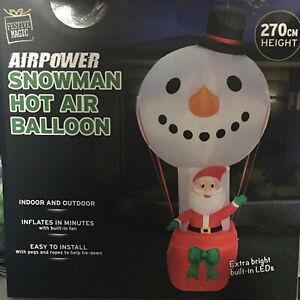 2.7 METRE TALL INFLATABLE SNOWMAN Hot Air Balloon w Santa CHRISTMAS Outdoor LED