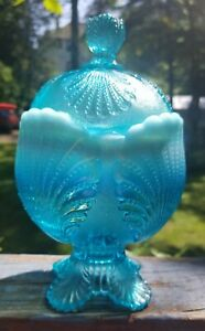 Mosser Blue Opalescent Beaded Shell Covered Sugar Bowl Candy Dish