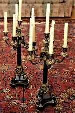 Pair of 6 Light French Empire Style Marble & Bronze Candelabra's RARE Antiques