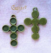 6 CHARMS CROCIFISSI color bronzo CIONDOLO PENDENTE 3 CM CROCI FEDE CHARM