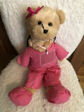 "Pink Scrubs Nurse Musical Bear Song USED Golden Blonde 19"" Girl Plush RN Bear"