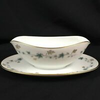VTG Gravy Boat with Underplate Noritake Elmdale Blue & Gold Leaves 6219 Japan