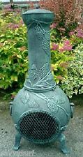 Solid Cast Iron Chimenea Grape Design Chiminea Patio Heater Fire Pit Garden Fire