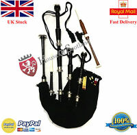 Scottish Great Highland Bagpipe Full Size Silver Mounts Black Finish With Tutor