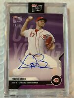 Trevor Bauer 2020 Topps Now NL Cy Young Award Autograph Auto #12/25 Purple