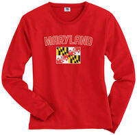 Threadrock Women's Maryland Flag Long Sleeve T-shirt State University