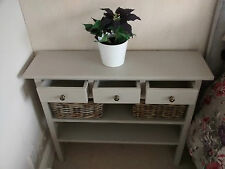 H80 W80 D20cm BESPOKE LAURA ASHLEY FRENCH GREY CONSOLE TABLE 3 DRAWER 2 SHELVES