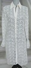 Lacy White NEIMAN MARCUS EXCLUSIVE Long Sleeves Below Knee Over Dress, Sz S
