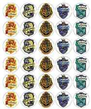 30 x Harry Potter Crest Edible Cupcake Toppers Wafer Paper Fairy Cake Topper