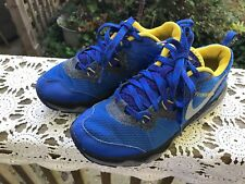 PAIR OF YOUTH SIZE 4.5 BLUE & YELLOW NIKE DUAL FUSION TRAIL SNEAKERS