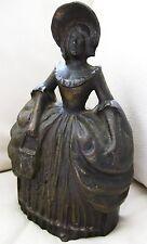 "Antique Heavy Bronze / Brass Victorian Dress Purse Bonnet Belle Door Stop 7"""