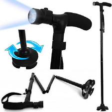 FOLDABLE WALKING STICK WITH LED LIGHT DISABILITY ALUMINIUM HEAVY DUTY CANE TORCH