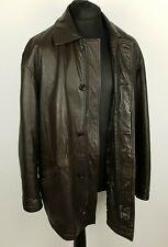 HUGO BOSS Mens Soft Leather Jacket Size 48'' Coat Brown Lambskin