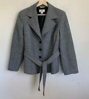 Talbots Petite Womens Jacket Button Belt Wool Black White Print Lined Size 12W