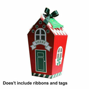 10X Christmas Sweets Treat Box Cookie Gingerbread Favor Bag Pack Xmas Party Gift