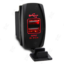 12V-24V Car Truck Boat UTV Red LED Backlit Dual USB Charger Rocker Switch Panel