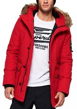Superdry Faux Fur Parka Jacket Warm Long Hooded Padded Everest Winter Coat Red