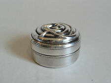 """UNUSUAL VINTAGE SILVER PLATED TRINKET / PILL BOX, EMBOSSED """"COILED SNAKE"""" on LID"""