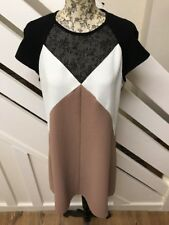 River Island da Donna Urban Beige Maglia Scollo Shift Dress Size 10 UK RRP £ 40