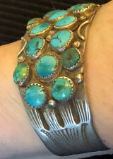 Best! c1930s Navajo Zuni Ingot Bracelet Pump Drilled Natural Turquoise Beads