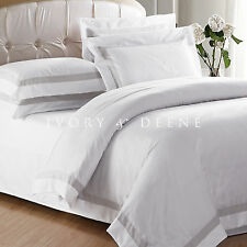 WHITE QUILT COVER King Size Latte Trim Doona Duvet Cover Set NEW AVA COLLECTION