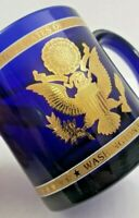The Great Seal of the United States Blue and Raised Gold Coffee Mug Blue Glass