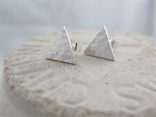 Sterling Silver 925 Sparkly Hammered Triangular Ear Stud Earrings 10mm Handmade