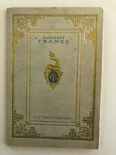 SS France (1912) Introductory Hard Cover Booklet with embossed cover