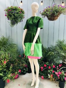 Vintage ELOISE CURTIS GREEN SATIN PINK ROSEBUD FITTED PARTY DRESS with Tulle XS