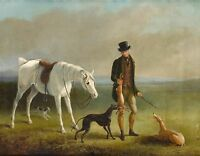 "1831, William Barraud, Rabbit Hunting, Greyhounds, antique,  20""x16""  ART PRINT"