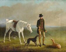 "1831, William Barraud, Rabbit Hunting, Greyhounds, antique,  20""x16""  ART PRINT"