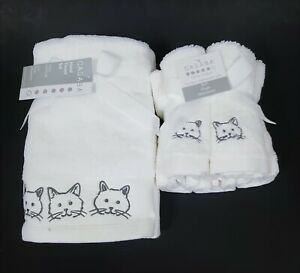 NEW CASABA WHITE,GRAY CAT EMBROIDERED 100% COTTON 2 HAND TOWELS,OR 5 WASHCLOTH