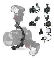 C-Shape 2 flash hot shoe Bracket for DV Flash LED Video Light DC DSLR SLR Camera