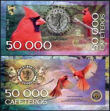 CLUB DE LA MONEDA MEDELLIN 50,000 CAFETEROS 2016 POLYMER FANTASY NOTE BIRD- NEW!