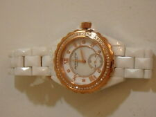 WHITE CERAMIC & STAINLESS STEEL ROSE GOLD TONE DIAMOND 1/2 CT TW WATCH AFFINITY