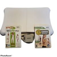 Nintendo Wii Fit Balance Board Bundle w/2 games, battery pack & skin Golds Gym