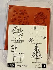 Stampin Up MERRY & BRIGHT wood mount stamps NEW Christmas snowman reindeer snow