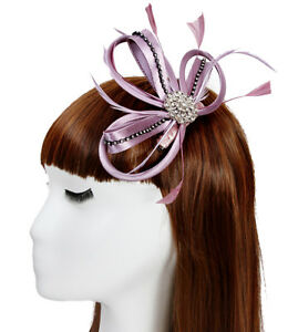 New Ladies Satin Loop Comb Fascinator With Feathers