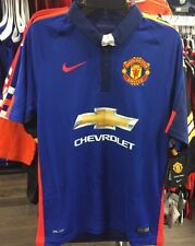 Team Manchester United Soccer Blue Jersey Short Sleeves Premier League XX-Large