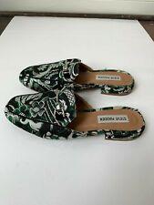 Steve Madden Printed Loafers Size 7.5 Green Black White Slides Shoes