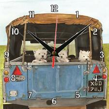 No.305 Westies in Land Rover Sue Podbery Wall clock handmade gift present dogs
