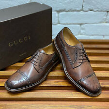Authentic GUCCI oxfords dress brown patina leather size 7 fits 8 US 41 EUR
